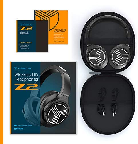TREBLAB Z2 | Over Ear Workout Headphones with Microphone | Bluetooth 5.0, Active Noise Cancelling (ANC) | Up to 35H Battery Life | Wireless Headphones for Sport, Workout, Running, Gym (Black) 511sWzvbAWL