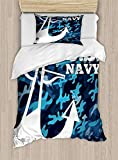 US Navy Duvet Cover Set, Uniform Design with Camouflage Style Blue Toned Background and Anchor, Decorative 2 Piece Bedding Set with 1 Pillow Sham, Twin Size, Blue Camo