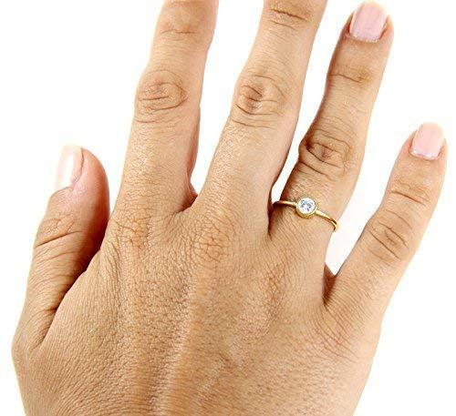 Anillo de compromiso de corte redondo con Swarovski - Anillo redondo de oro rosa - Anillo de redondo lleno de oro - Anillo de...