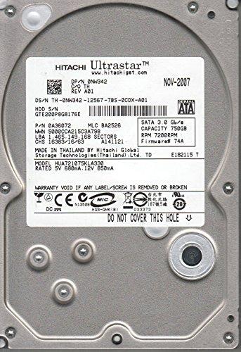HUA721075KLA330, PN 0A36072, MLC BA2526, Hitachi 750GB SATA 3.5 Hard (Hitachi Sata Controller)