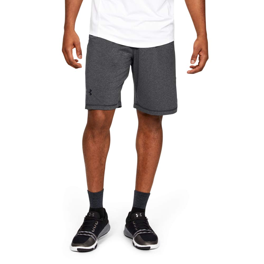 Under Armour mens Raid 10-inch Workout Gym Short, Carbon Heather (090)/Black, X-Small