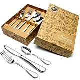 HOBO Silverware Set 20 Pieces Flatware Set Silver Stainless Steel Cutlery Set, Premium Quality Mirror Polished Flatware Set, Including Dinner Knife/Fork / Spoon, Suitable For Household, Restaurant
