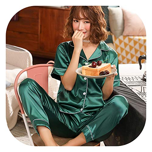 (Short Sleeve Silk Pajamas Spring Women Summer Pajama Sets Silk Pijama Sleepwear Pyjamas,X W Duan lv,5XL)