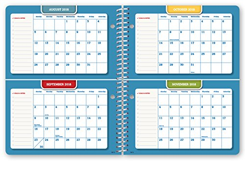 Hardcover Dated Middle School Or High School Student Planner for Academic Year 2018-2019 (Matrix Style - 7''x9'' - Gold Dots Turquoise Cover) - Bonus Ruler/Bookmark and Planning Stickers by Global Datebooks (Image #6)