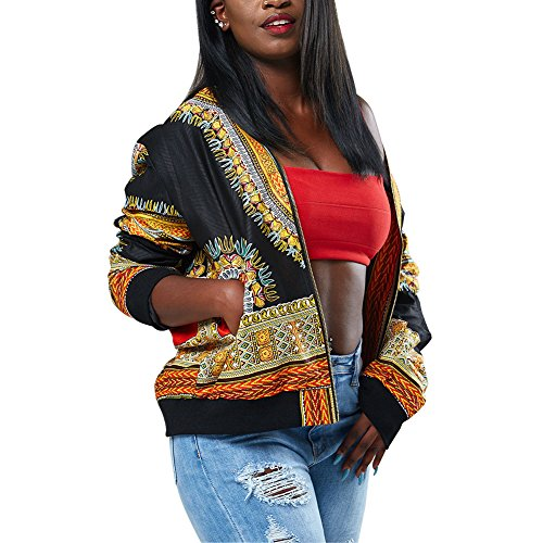 Joseph Costume Women's Casual African Print Zipper Dashiki Short Bomber Jacket Coat With Pockets Black L ()