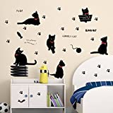 Winstory Lovely Cats Removable Waterproof Wall Stickers Mural Decals For Home Kids Room Nursery Decoration