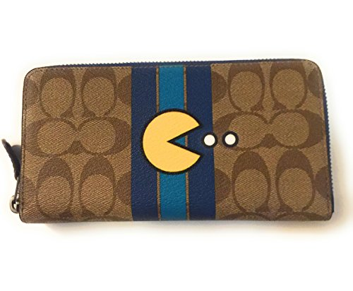 Coach Limited Edition Pac-Man Collection Signature Accordion Full Zip Wallet in Khaki/Denim - Signature Coach Collection