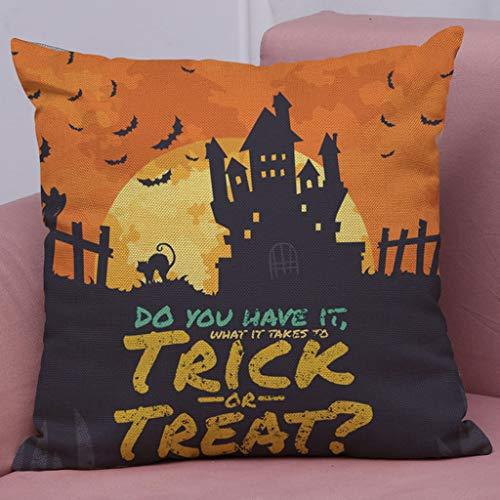 Halloween Pillow Cover,Spirit of Halloween Thriller Throw Pillow Covers 100% Cotton Linen Zipper Closure, Cushion Couch Pillow Covers -