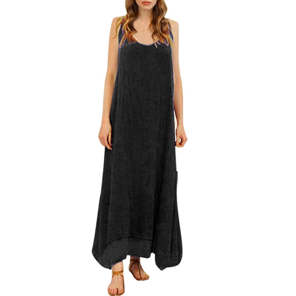Cliramer Fashion Women Sleeveless Strappy Cotton Linen Loose Bohe Casual Retro Long Maxi Dress Beach Dresses