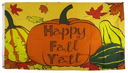 ALBATROS 3 ft x 5 ft Happy Fall Yall Thanks Giving Pumpkin Squash Flag House Banner Grommets for Home and Parades, Official Party, All Weather Indoors Outdoors