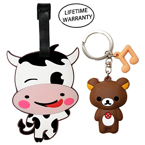 [DIYJewelryDepot Cute Cow Animal Luggage Travel Tag for Bags & Backpacks + Keychain (Smiling)] (Homemade Baby Chick Costumes)