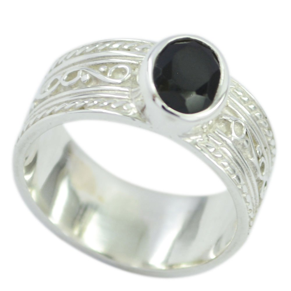 55Carat Natural Black Onyx Ring Sterling Silver Oval Shape Astrology US 4,5,6,7,8,9,10,11,12