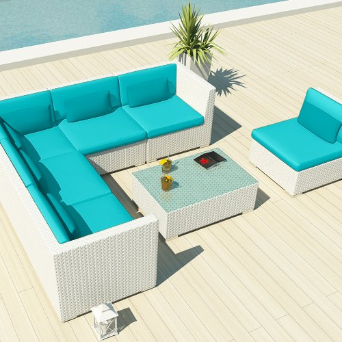Amazon.com: Uduka Outdoor Sectional Patio Furniture White Wicker Sofa Set  Luxor Turquoise All Weather Couch: Garden U0026 Outdoor