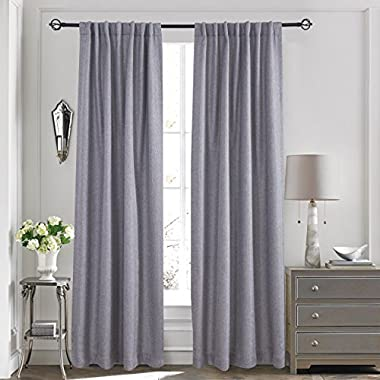 Lullabi Premium Collection, Thermal Tweed, Grasscloth Texture, Room Darkening Window Curtain Drapery, Back Tab, 84-inch Length by 50-inch Width (Gray, 2 Panels)