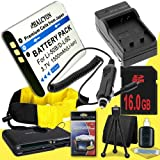 LI-50B Lithium Ion Replacement Battery w/Charger + 16GB SDHC Memory Card + Memory Card Reader/Wallet + Deluxe Starter Kit and Waterproof Floating Strap for Olympus Stylus Tough TG-610, Tough TG-810, Tough 6000, Tough 6020, Tough 8000, Tough 8010 DavisMAX