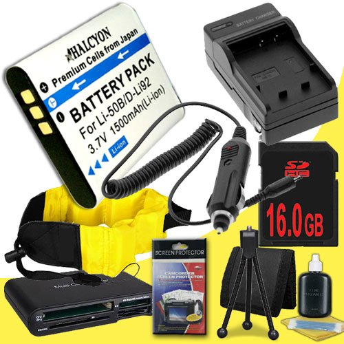 LI-50B Lithium Ion Replacement Battery w/Charger + 16GB SDHC Memory Card + Memory Card Reader/Wallet + Deluxe Starter Kit and Waterproof Floating Strap for Olympus Stylus Tough TG-610, Tough TG-810, Tough 6000, Tough 6020, Tough 8000, Tough 8010 DavisMAX  by DavisMAX
