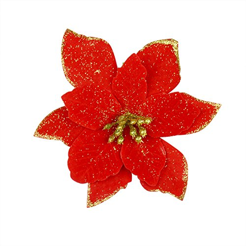 Xmas Poinsettia - 6Pcs 5 Inch Glitter Artificial Wedding Christmas Flowers XMAS Tree Wreaths Decor Ornament Red