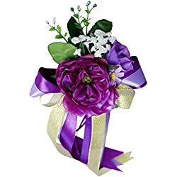 Baoblaze Wedding Car Mirror Handle Chair Decorations kit Silk Flower Ribbon Party Accessories DIY Making Craft - Purple 3, 36 x 15 x 8cm