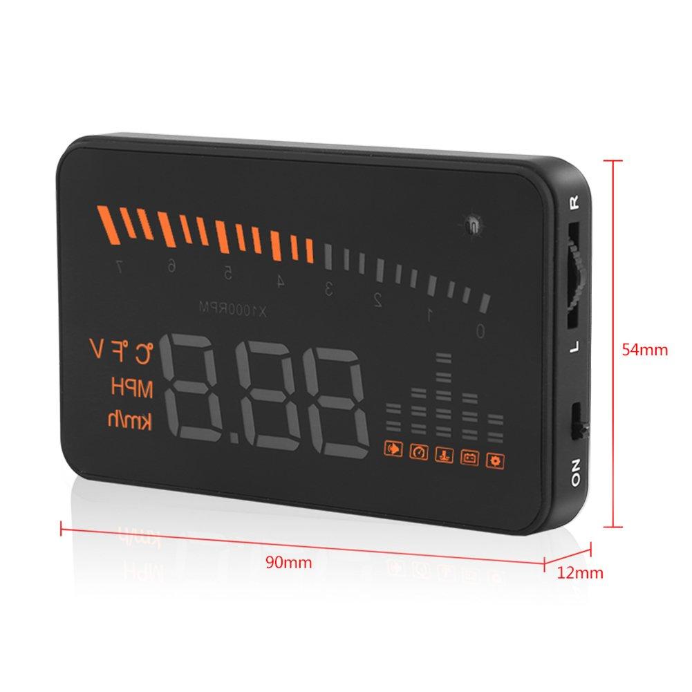 qiilu vgeby X5/OBDII HUD Cabeza de sobre el sistema de aviso de velocidad de proyecci/ón a colores LED para cami/ón coche