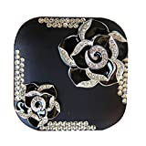 DIY Handmade Camellia Rhinestone Bling Design Contact lenses Case Mini Fashion Portable Travel for Eye Care Box With Mirror Holder (BLACK)