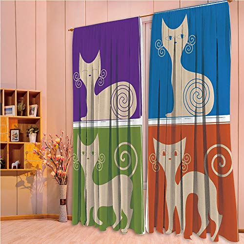 Price comparison product image ZHICASSIESOPHIER Bedroom / Living Room / Kids / Youth Room Curtain Panels,  2 Panel, Emotion Happy Confused Curious Goofy Kitty Print 108Wx84L Inch