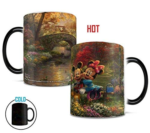 Disney - Mickey and Minnie Mouse - Thomas Kinkade - Sweetheart Central Park - New York - Morphing Mugs Heat Sensitive Mug - Ceramic Color Changing Heat Reveal Coffee Tea Mug - by Trend Setters Ltd.