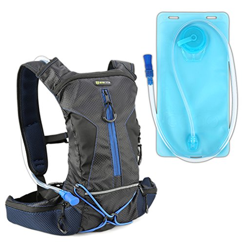 Hydration Backpack 2L, Evecase Sport Daypack Bag Rucksack Pack with 2L Water Hydration Bladder Pocket for Cycling Hiking Climbing Running Travel and Other Outdoor Sports - Black