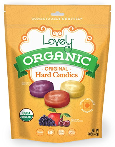 ORGANIC Hard Candies - Lovely Co. 5oz Bag - Cherry, Grape & Apple Flavors | NO HFCS, GLUTEN or Fake Ingredients, 100% VEGAN & Kosher! ()