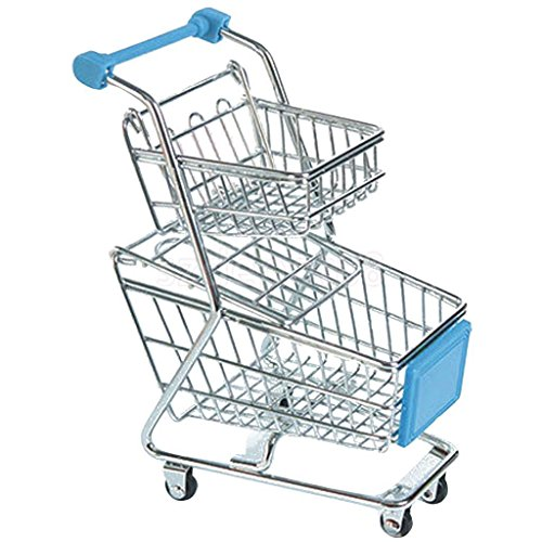 2 Layer Mini Shopping Cart Salesman Sample Kids Toy Shopping Buggy Blue