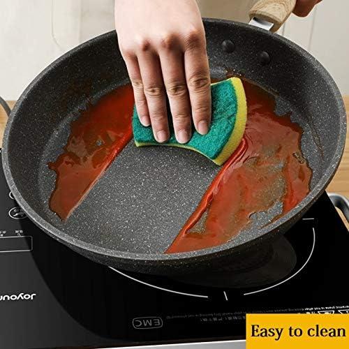 LDSSP Poêle À Frire avec Manche en Bois pour Cuisinière en Alliage D'Aluminium De 24 Cm pour Cuisinière À Gaz