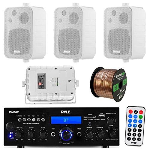 """Pyle PDA6BU 200-Watt 2-Channel Digital USB/AUX FM Radio Stereo Amplifier Receiver, Bundle Combo With 4x Enrock EKMR408W 4"""" Inch 200-Watt 3-Way White Box Speakers, 50 Feet 16-Gauge Speaker Wire"""
