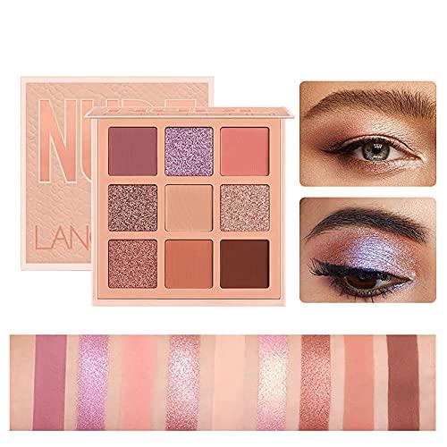 HXS Pearl Glitter Eye Shadow, Powder Matt Eyeshadow, Highly Pigmented Eye Makeup Palettes, Natural Blendable Long-Lasting Waterproof Small Pallets Eyeshadow, Cosmetics Gift Kit, 9 Colors