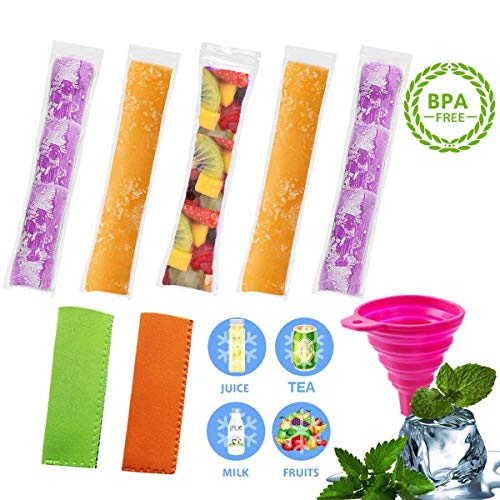 EXSPORT 150 PCS Pop Bags Pop Mold Bags Popsicle Pouches Popsicle Molds Bags BPA Free and FDA Approved Ice Pop Pouch with 2 PCS Popsicle Holders for Yogurt, Ice Candy, Ice cream Party Favors