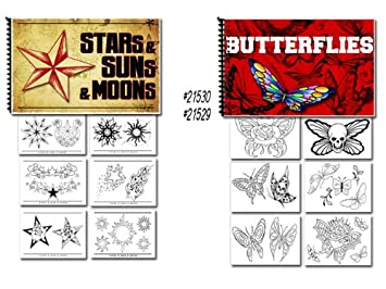 fe8dc261a Image Unavailable. Image not available for. Color: Tattoo Flash Art Books Stars  Sun Moon and Butterflies