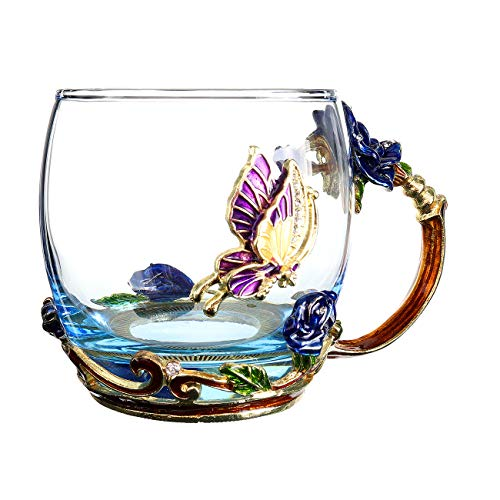 FENHAR Luxury Upgrade Enamel Glass Of Rose Bowl Heat-Resistant Crystal Glass Coffee Cup Couples Creative Gift Flower Tea Cup (Blue rose short) (Lead Bowl Rose Crystal)