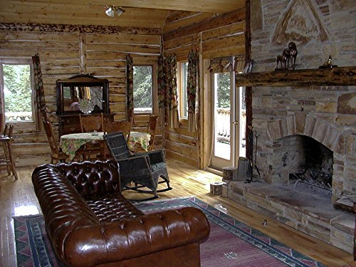 Gifts Delight LAMINATED 32x24 inches Poster: Western Country Style Fireplace Log Cabin Interior Furniture Indoor House Building Home by Gifts Delight