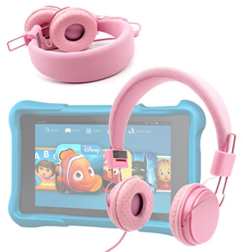"Price comparison product image Ultra-Stylish Kids Headphones with Microphone in Pink - Compatible with the Amazon Fire HD Kids Edition Tablet 6"" - by DURAGADGET"
