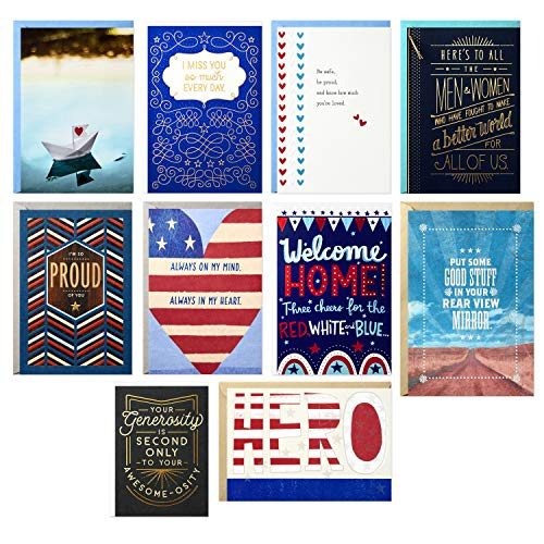 Hallmark American Heroes Thinking of You Card Assortment (10 Cards with Envelopes)