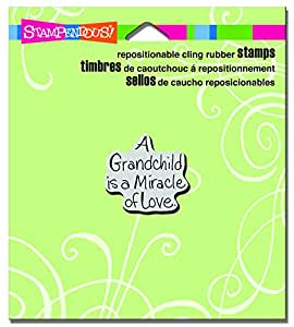 """Stampendous CRC219 Grandchild Love Cling Stamp, 3.5"""" by 4"""", Grey"""