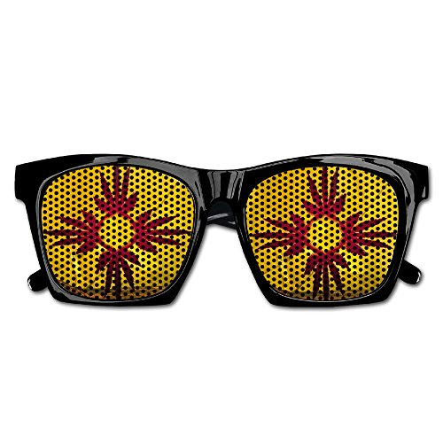 Cheap Colored Costume Contacts (DaleSuSu Unisex Marijuana Weed New Mexico State Flag Classic Party Glasses Sunglasses Costume)