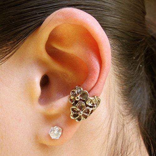 Bronze Daisy Love Ear Cuff Flower Floral Jewelry Earring