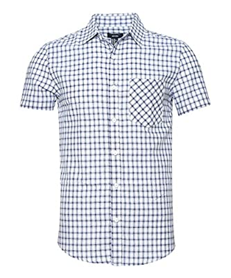 NUTEXROL Men's Slim-Fit Short-Sleeve Plaid Shirt Cotton