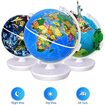 Smart World Globe - 3 In 1 Illuminated Globe with Built-in Augmented Reality Technology, Earth by Day, Constellations by Night, AR App Experience, Adventure and Discovery, Educational Gift for Child