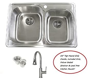 33 Inch Stainless Steel Top Mount Drop In 60 40 Double Bowl Kitchen Sink And