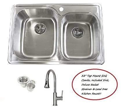 33 inch stainless steel top mount drop in 6040 double bowl kitchen sink and - Drop In Kitchen Sink