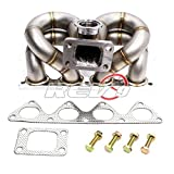 Rev9 Power HP-Series Civic B16 B18 B20 Ram Horn Equal Length T3 Turbo Manifold 11 Gauge / 3.1mm Wall Thickness Full Race Style