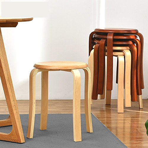 Solid wood stools, creative dining stools, fashion benches, home table and stools, low stools, round stools, multicolor options, easy installation, convenient stacking, D: 31cm, H: 45cm (Color : B) by PM-Stools (Image #2)