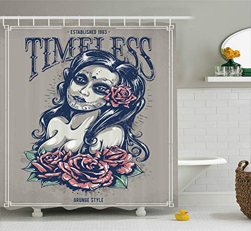 Ambesonne Skulls Decorations Collection, Day of Dead Girl with Tattoos on Her Face Roses Lady witch Woman Timeless Sign Art, Polyester Fabric Bathroom Shower Curtain Set with Hooks, Grey Black
