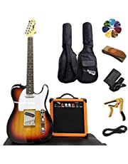 Electric Guitar 39 inch Complete Beginner Starter kit Full Size with 20w Amp, Package Includes All Accessories Digital Tuner Strings Picks Bar Shoulder Strap and Case Bag