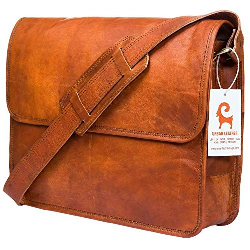 (Urban Leather Handmade Laptop Messenger Bag for Men Women Flap Over Office Leather Shoulder Work Bag With Shock Proof Macbook Padding with Natural Textures)